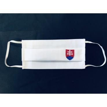 Bavlnené rúško biele so slovenským znakom