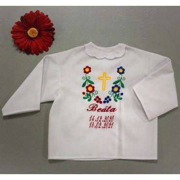 Krstová košieľka folklórna- dievčenská: Kvety s krížikom