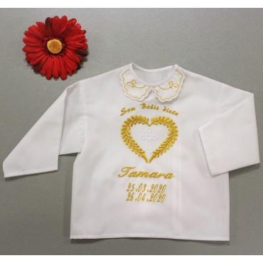 Krstová košieľka - zlatá: Listové srdce s krížom