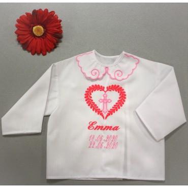 Krstová košieľka - dievčenská: Listové srdce s krížom