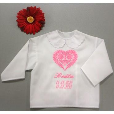 Krstová košieľka - dievčenská: Listové srdce