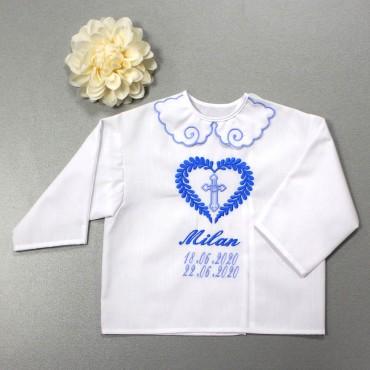 Krstová košieľka - chlapčenská: Listové srdce s krížom