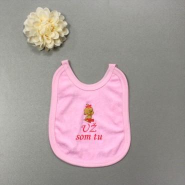 Detský podbradník ružový- Už som tu + dievčatko