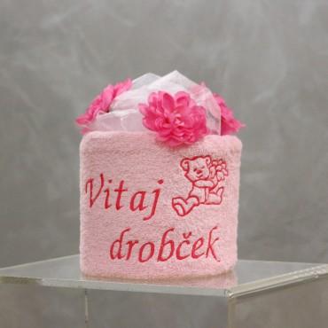Plienková torta Vitaj drobček, ružová