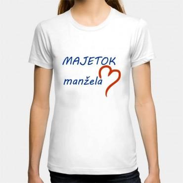 Dámske humorné tričko s výšivkou: MAJETOK manžela + polsrdce