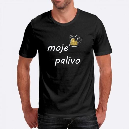 Pánske humorné tričko s výšivkou: moje palivo + pivo