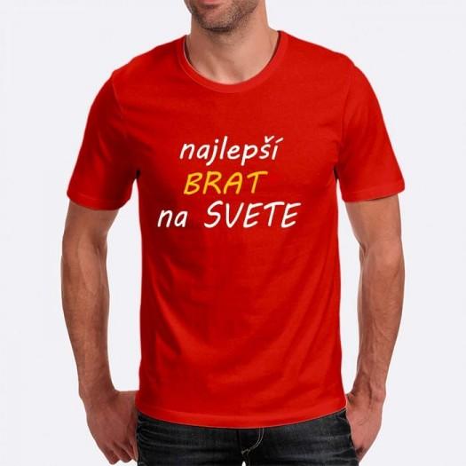 Pánske humorné tričko s výšivkou: najlepší BRAT na svete + srdce