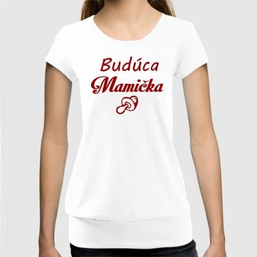 Dámske humorné tričko so spodným lémom s výšivkou: Budúca Mamička + cumeľ