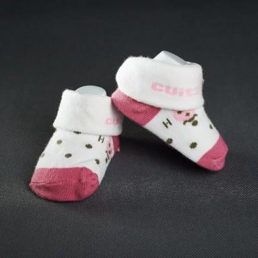 Dojčenské papučky: bielo - ružové s hnedými bodkami