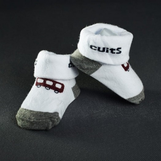 Dojčenské papučky: bielo - šedé s autom