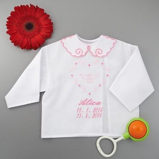 Krstová košieľka - dievčenská: Veľké srdce s holubicou