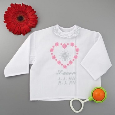 Krstová košieľka - dievčenská: Veľké srdce s krížom so žiarou