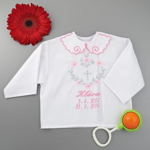 Krstová košieľka - dievčenská: Srdce z listov