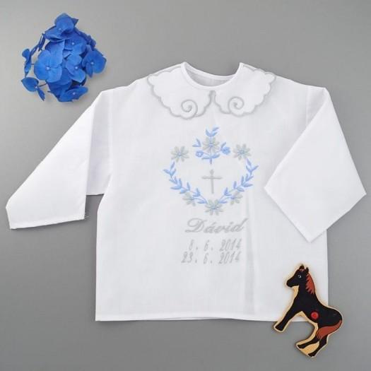 Krstová košieľka - chlapčenská: Srdce z listov