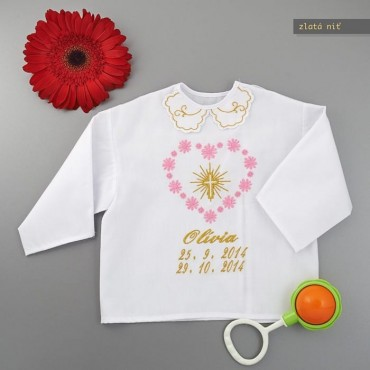 Krstová košieľka - zlatá: Veľké srdce s krížom so žiarou