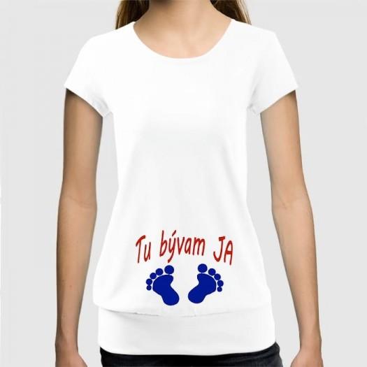 Dámske humorné tričko so spodným lémom s výšivkou: Tu bývam ja + nožičky