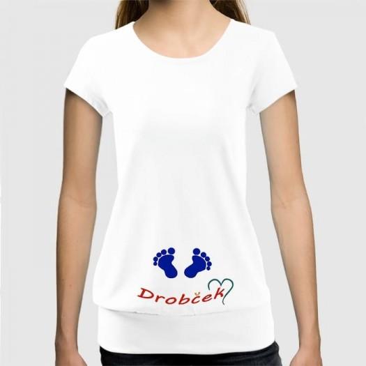 Dámske humorné tričko so spodným lémom s výšivkou: Nožičky + drobček