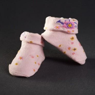Dojčenské papučky: staro - ružové s kvietkami
