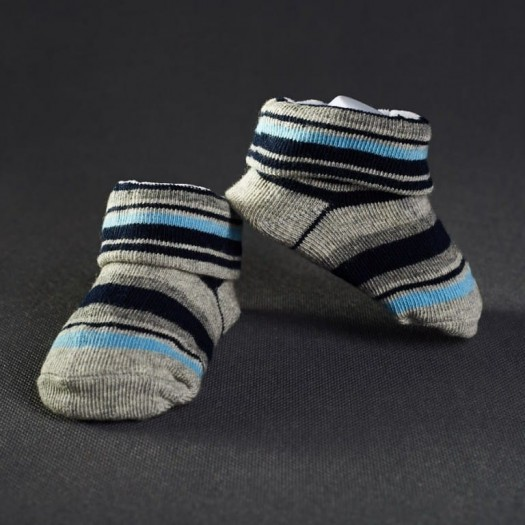 Dojčenské papučky: pásikavé šedo - modré