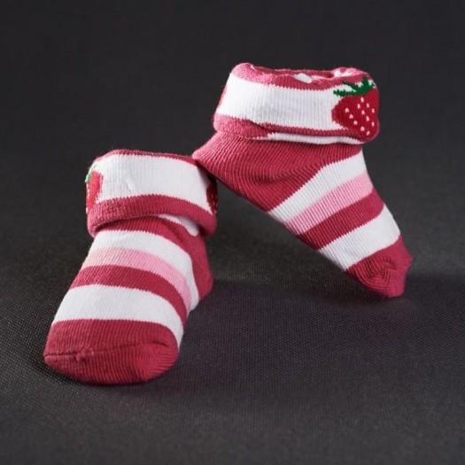 Dojčenské papučky: pásikavé ružové