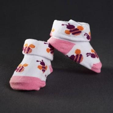 Dojčenské papučky: bielo - ružové s motýľom