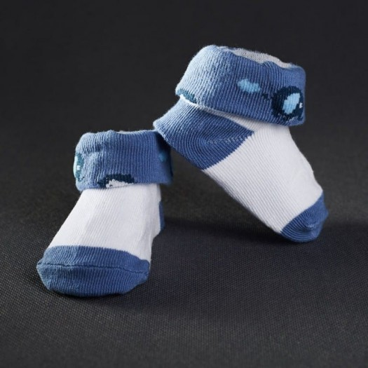 Dojčenské papučky: biele s tmavo-modrou