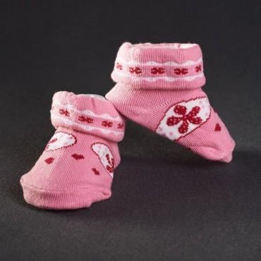 Dojčenské papučky: ružové s červeným kvetom