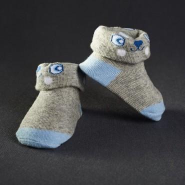 Dojčenské papučky: šedo - modré