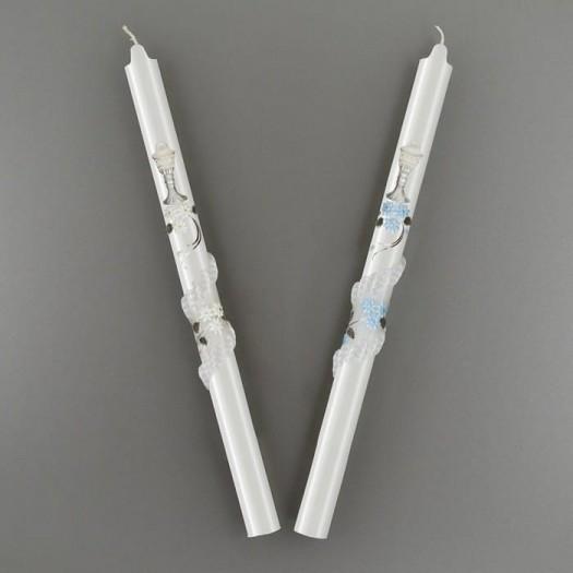 Krstová sviečka strieborná: biela, ružová