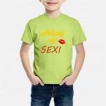 Detské humorné tričko s výšivkou: ufúľaný ale SEXI + ústa