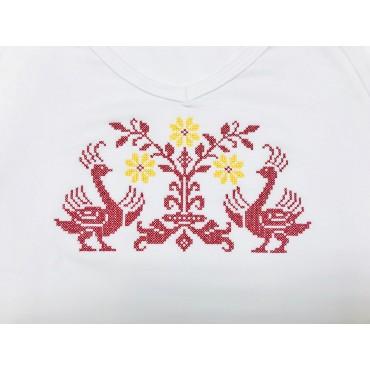 Folklórne tričko dlhý rukáv s výšivkou vzor č.1