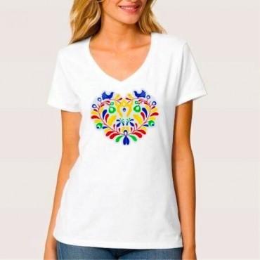Folklórne tričko krátky rukáv s výšivkou farebné srdce vzor č.2