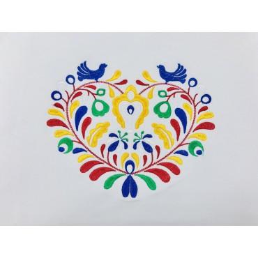Folklórne tričko dlhý rukáv s výšivkou farebné srdce vzor č.2