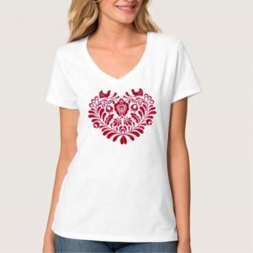 Folklórne tričko krátky rukáv s výšivkou jednofarebné srdce vzor č.3