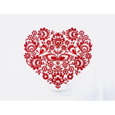 Folklórne tričko dlhý rukáv s výšivkou jednofarebné srdce vzor č.9