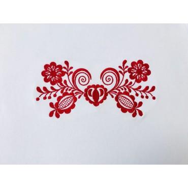 Folklórne tričko dlhý rukáv s výšivkou jednofarebné srdce vzor č.11