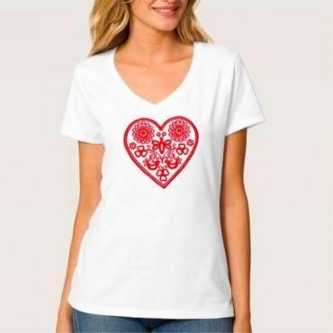 Folklórne tričko krátky rukáv s výšivkou jednofarebné srdce vzor č.10