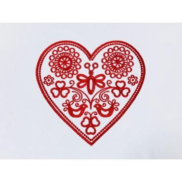 Folklórne tričko dlhý rukáv s výšivkou jednofarebné srdce vzor č.10