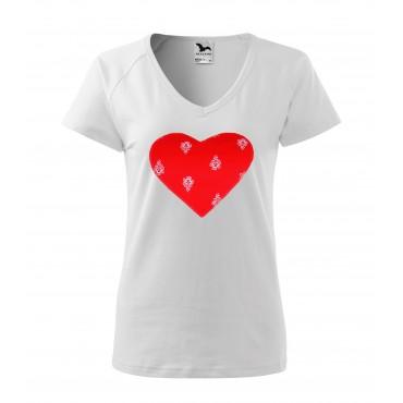 Folklórne tričko krátky rukáv s nášivkou červené srdce