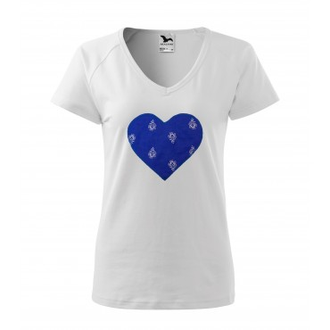 Folklórne tričko krátky rukáv s nášivkou modré srdce