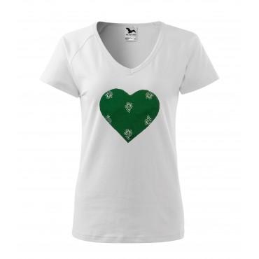 Folklórne tričko krátky rukáv s nášivkou zelené srdce