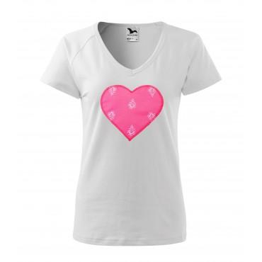 Folklórne tričko krátky rukáv s nášivkou ružové srdce