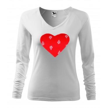 Folklórne tričko dlhý rukáv s nášivkou červené srdce