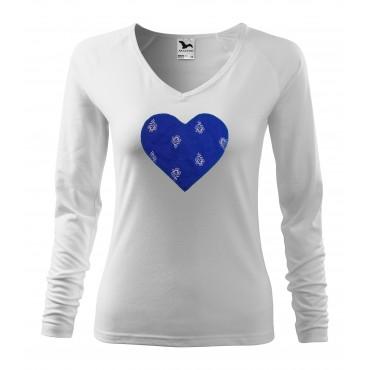 Folklórne tričko dlhý rukáv s nášivkou modré srdce