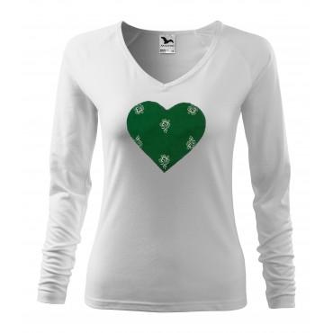 Folklórne tričko dlhý rukáv s nášivkou zelené srdce