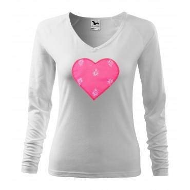 Folklórne tričko dlhý rukáv s nášivkou ružové srdce