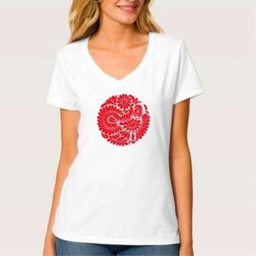 Folklórne tričko krátky rukáv s výšivkou jednofarebné srdce vzor č.12