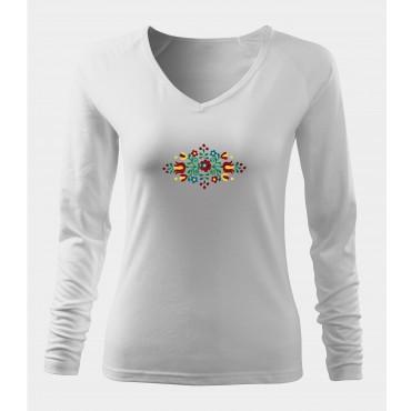 Folklórne tričko dlhý rukáv s výšivkou jednofarebné srdce vzor č.8